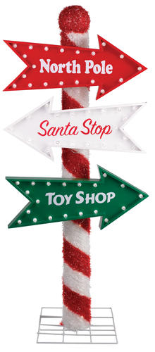 48 prelit led north pole sign at menards for Large outdoor christmas signs