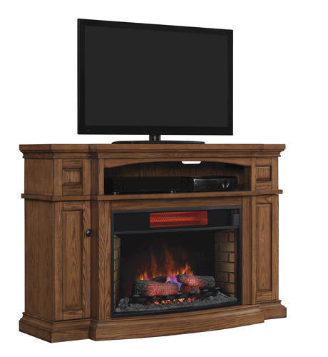 Midway Tv Stand For Tvs Up To 65 With 32 Curved Infrared Quartz Fireplace Premium Oak