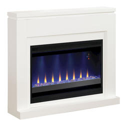 "Contemporary Wall Fireplace Mantel with 36"" Electric Fireplace, White"