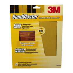 "3M™ SandBlaster™ 9"" x 11"" 220-Grit Sandpaper with No-Slip Grip™ Backing - 3 pcs"