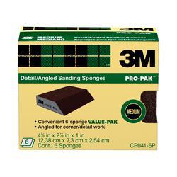 """3M™ 4-7/8"""" x 2-7/8"""" Medium-Grit Aluminum Oxide Angled Sanding Sponges - 6-pk"""