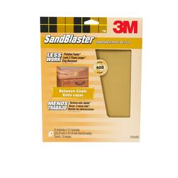 "3M™ SandBlaster™ 9"" x 11"" 400-Grit Sandpaper with No-Slip Grip™ Backing - 3 pcs"