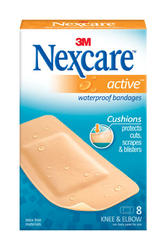 "Nexcare™ Active™ 1-7/8"" x 4"" Waterproof Knee and Elbow Bandages - 8-ct"