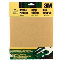 """3M™ 9"""" x 11"""" 220-Grit Aluminum Oxide Sandpaper - 5 pcs"""