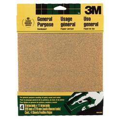 """3M™ 9"""" x 11"""" 60-Grit Aluminum Oxide Sandpaper - 4 pcs"""
