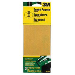 "3M™ 3-2/3"" x 9"" 150-Grit General Purpose Sandpaper - 6 pcs"