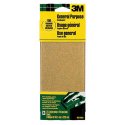 "3M™ 3-2/3"" x 9"" 100-Grit General Purpose Sandpaper - 6 pcs"