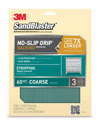 "3M™ SandBlaster™ 9"" x 11"" 60-Grit Sandpaper with No-Slip Grip™ Backing - 3 pcs"