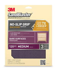 "3M™ SandBlaster™ 9"" x 11"" 120-Grit Sandpaper with No-Slip Grip™ Backing - 3 pcs"