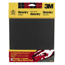"""3M™ Wetordry™ 9"""" x 11"""" 600-Grit Silicone Carbide Sandpaper - 5 pcs"""