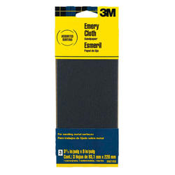 "3M™ 3-2/3"" x 9"" Assorted Grit Emery Cloth Sandpaper - 3 pcs"