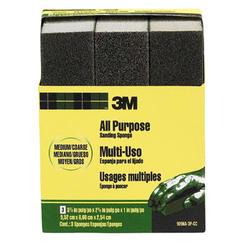 "3M™ 3-3/4"" x 2-5/8"" All-Purpose Medium/Coarse-Grit Sanding Sponges - 3-pk"