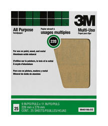 """3M™ Pro-Pak™ 9"""" x 11"""" 220-Grit Aluminum Oxide Sandpaper - 25 pcs"""