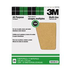 """3M™ Pro-Pak™ 9"""" x 11"""" 120-Grit Aluminum Oxide Sandpaper - 25 pcs"""
