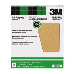 """3M™ Pro-Pak™ 9"""" x 11"""" 100-Grit Aluminum Oxide Sandpaper - 25 pcs"""
