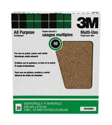 """3M™ Pro-Pak™ 9"""" x 11"""" 50-Grit Aluminum Oxide Sandpaper - 25 pcs"""