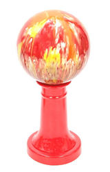 Ceramic Gazing Ball & Red Stand Combo