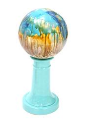 Ceramic Gazing Ball & Turquoise Stand Combo