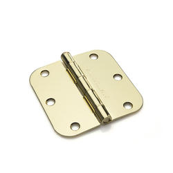 "Mastercraft 5/8"" Radius 3-1/2"" x 3-1/2"" Bright Brass Interior Door Hinges"