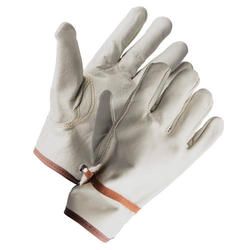 Rugged Wear Grain Leather Glove with Strap - Medium