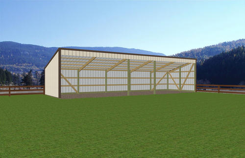 13 39 w x 45 39 l x 7 39 h open sided shed at menards for Open pole barn