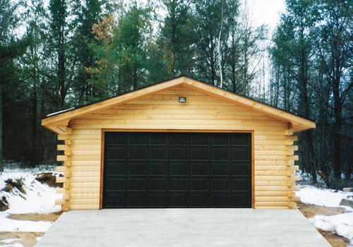 24 X 24 X 8 2 Car Garage With Log Siding At Menards 174