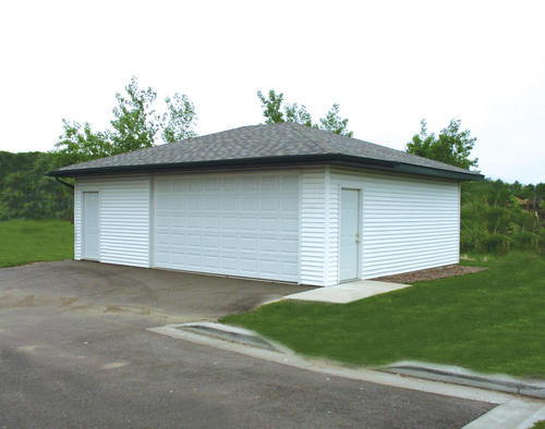 24 39 x 30 39 x 9 39 2 car garage with hip roof at menards for Garage roofing options