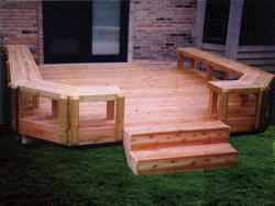 14' x 14' Butcher Block Bench Deck