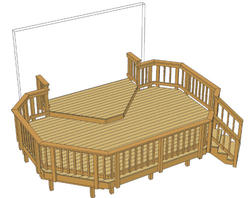 18' x 12' Deck w/ 10' x 6' Landing and Iron Spindles
