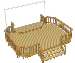 20' x 14' Deck w/ 12' x 4' Landing and Iron Spindles