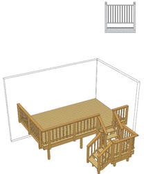 16' x 10' Deck w/ Stair Landing and Iron Spindles