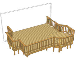 16' x 14' Deck w/ Grill Bump-Out and Aluminum Spindles