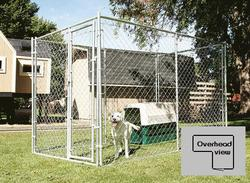 10' x 6' x 10' L-Shaped Galvanized Kennel