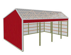 24'W x 36'L x 12'H Open Sided Shed