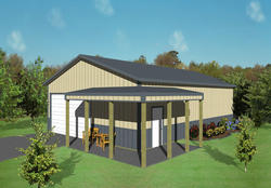 30'W x 45'L x 10'H Agricultural With 6' Porch Overhang