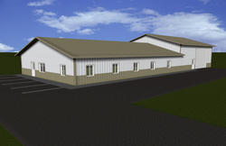 40'W x 40'L x 16'H Agricultural Tie-In Building with 40'W x 64'L x 10'H