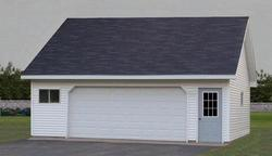 22' x 26' x 8' 2-Car Low Maintenance Garage with Spread Web Storage Trusses and Premi...
