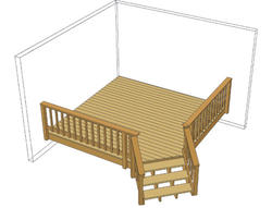 10' x 10' Single Level Deck w/ Angled Stairs
