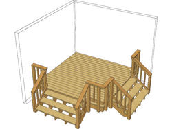 10' x 10' Single Level Deck w/ Two Stairs