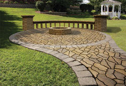 Flagstone Patio with Fire Ring