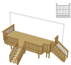 20' x 10' Deck w/ Notched Corners and Iron Spindles