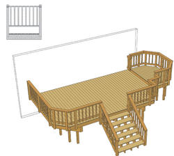 20' x 12' Deck w/ 5' x 8' Step-Up Area