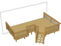 20' x 13' Deck w/ Angled Stairs