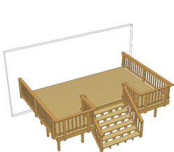 20' x 14' Deck w/ Inset Wide Stairs