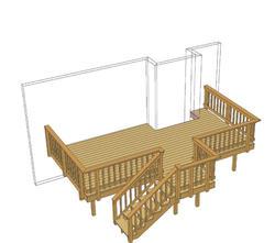 20' x 14' Deck w/ Stair Landing