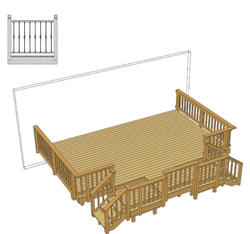 20' x 14' Deck w/ Two Stair Landings and Iron Spindles