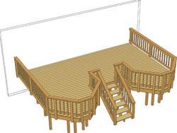 22' x 16' Deck w/ Two Angled Bays