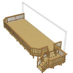 30' x 12' Deck w/ Stair Landing