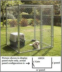 5' x 6' x 10' 3-Sided Galvanized Kennel