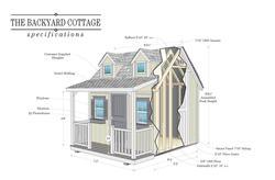 """Backyard Cottage Do-It-Yourself 7'4""""W x 8'4""""L Playhouse"""